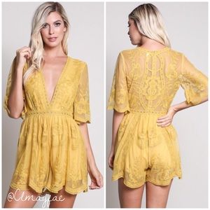 Pants - SALE⭐️New Embroidered Lace Romper -Yellow